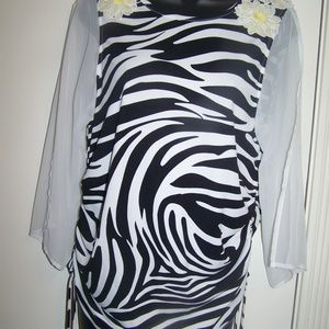 Michael Kors Zebra Print Top Floral Applique XL